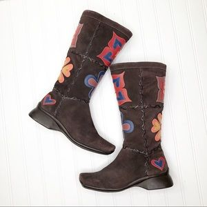 Indigo By Clarks Brown Suede Floral Leather Boots